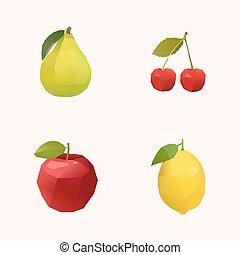 pic, cerise, pomme, et, citron
