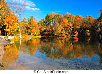 pic, lac, feuillage, automne