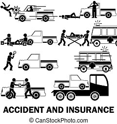 Shape icons about pedestrian hit by pic up truck And call for emergency vehicles Claim receipt of insurance and the towing truck service.