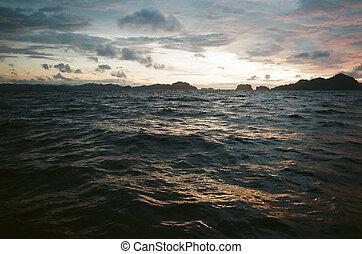 picado, mar, anochecer