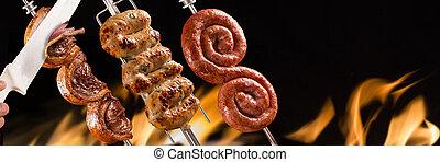 Picanha and cuiabana sausage, traditional Brazilian barbecue.