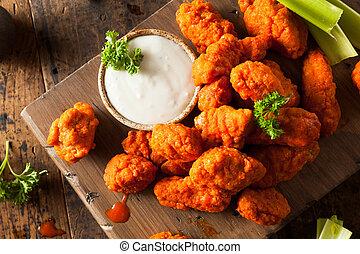 picante, caliente, boneless, pollo, búfalo, alas