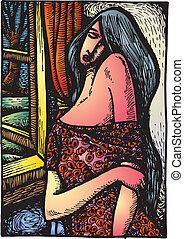 picaso, 抽象的, 女, のように, 形態