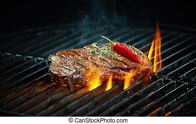 piccante, cuocere, caldo, barbecue, peperoncino, bistecca