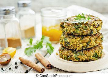 piccante, hamburger, vegan, miglio, erbe, ceci, curry