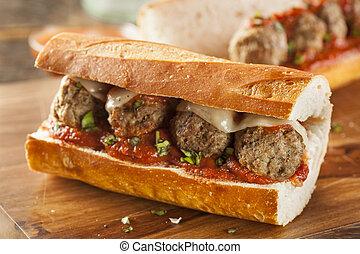 piccante, sub, caldo, panino, casalingo, polpetta