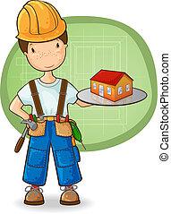 piccola casa, costruttore, presa a terra