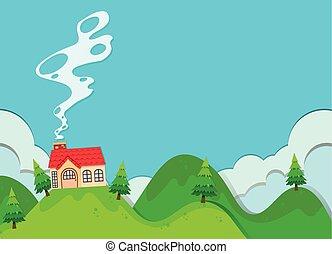 Stilizzato casa collina paesaggio illustrazione for Piccola casa su fondamenta