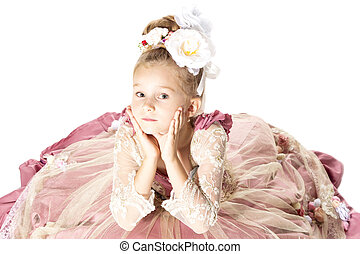 piccola principessa, attesa, per, lei, principe, su, il, bianco, horse., cima, vista., isolato