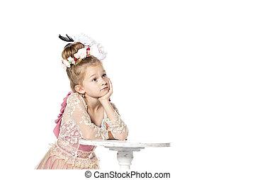 piccola principessa, attesa, per, lei, principe, su, il, bianco, horse., isolato