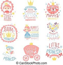 piccola principessa, set, di, stampe, per, infante, stanza ragazze, o, abbigliamento, disegnare sagome, in, rosa, blu, colorare