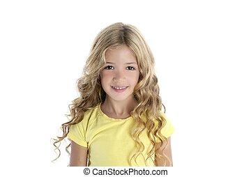 piccola ragazza, biondo, sorridente
