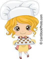 piccola ragazza, biscotti cuociono forno