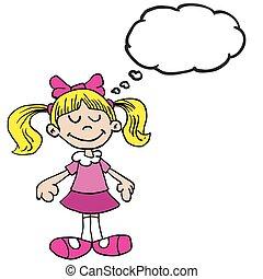 piccola ragazza, bolla, pensiero, cartone animato, vestito colore rosa