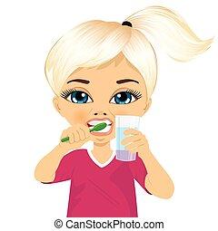 piccola ragazza, carino, denti spazzolatura