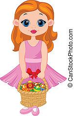 piccola ragazza, cartone animato, ful, cesto