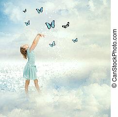 piccola ragazza, con, farfalle