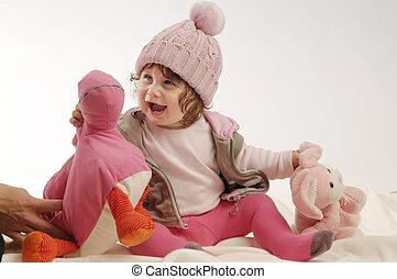 piccola ragazza, con, giocattoli