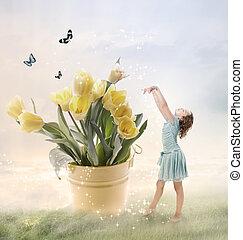 piccola ragazza, con, grande, fiori