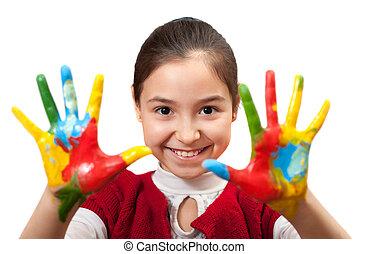 piccola ragazza, con, lei, mani, dipinto