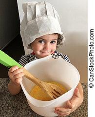 piccola ragazza, cottura, in, cucina