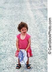 piccola ragazza, detenere, uno, bizza, grida