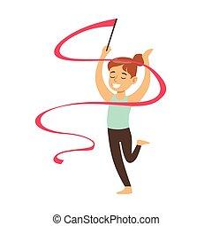 piccola ragazza, fare, ginnastiche ritmiche, esercizio, con, nastro, classe, futuro, sport, professionale