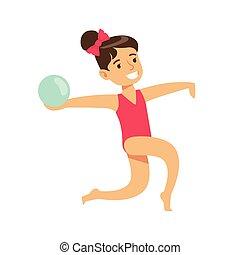 piccola ragazza, fare, ginnastiche ritmiche, esercizio, con, palla, classe, futuro, sport, professionale