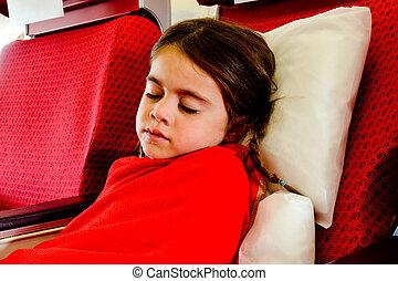piccola ragazza, in pausa, in, uno, aereo