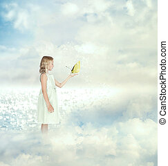piccola ragazza, presa a terra, uno, farfalla