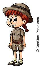 piccola ragazza, safari, equipaggiamento