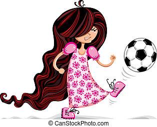 piccola ragazza, soccer., gioco