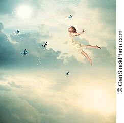piccola ragazza, volare, a, crepuscolo