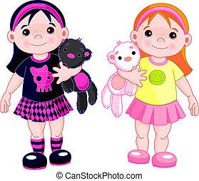 piccole ragazze, carino