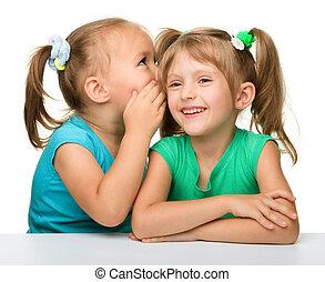 piccole ragazze, due, ciarlare