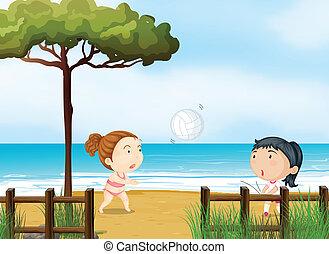 piccole ragazze, due, pallavolo, spiaggia, gioco