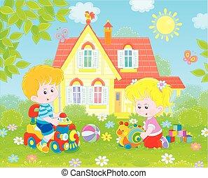 piccoli bambini, gioco, su, uno, prato anteriore