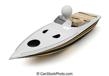 piccolo, 3d, -, barca, persone