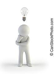piccolo, 3d, -, idea, persone