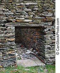piccolo, abbandonato, casa, pietra, villaggio, montagne