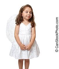piccolo angelo, lateralmente, dall'aspetto, bianco