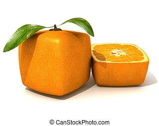 piccolo, arancia, mezzo, fresco, cubico