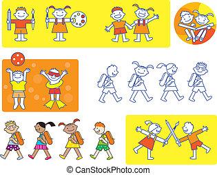 piccolo, bambini scuola, icone