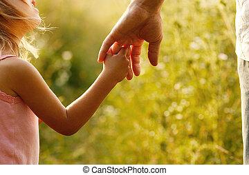 piccolo bambino, prese, genitore, mano