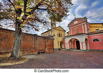 piccolo, barolo, cobbled, italy., courtyard.
