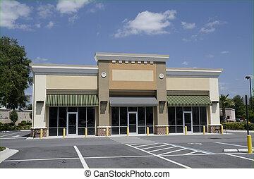 piccolo, beige, spogli edificio molti negozi