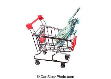 piccolo, bianco, shopping, isolato, carrello