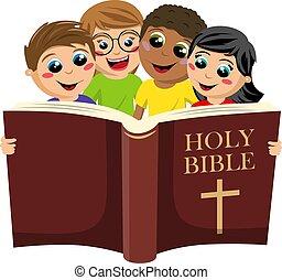 piccolo, bibbia, isolato, santo, gruppo, bianco, bambini, multicultural, libro lettura