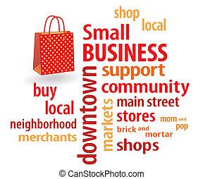 piccolo, borsa, shopping, affari