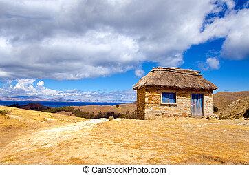 piccolo, capanna, su, il, isola sole